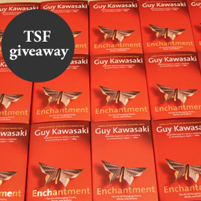 I'm giving away 20 autographed copies of Guy Kawasaki's book, Enchantment